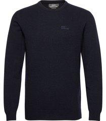 eco wool karsten stickad tröja m. rund krage blå mads nørgaard