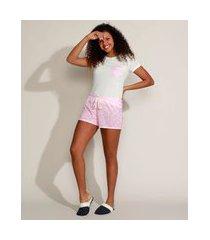 pijama feminino com estampa de margaridas e bolso manga curta off white