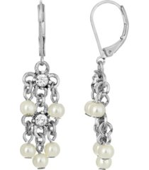 2028 silver-tone crystal and imitation pearl linear earrings