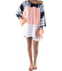pure-kenya strandjurkje pure kenya batik short dress peach-one-size