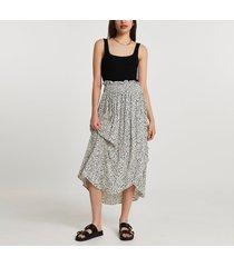 river island womens cream shirred waist wrap midi skirt