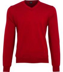 olymp v-hals trui rood merinowol