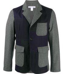 comme des garçons shirt contrast-panel blazer - grey