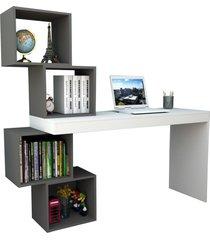 mesa para notebook escrivaninha 4 nichos esc 3004 branco/grafite - appunto
