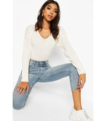 tall wide rib v-neck crop sweater, ivory