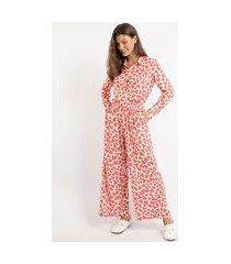 pijama feminino camisa estampado de corações manga longa off white