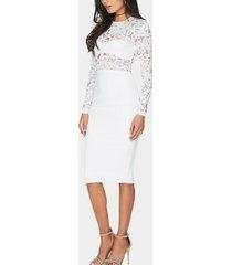 inserto de encaje blanco delicado bodycon midi vestido