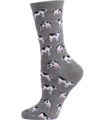 memoi women's cows crew socks