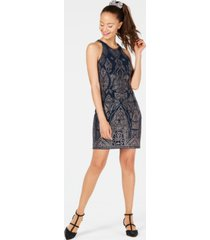 jump juniors' glitter-print sheath dress