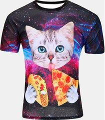 stampa personalizzata space cat camicia per uomo