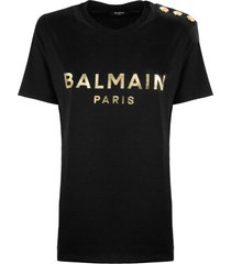 balmain black and gold cotton t-shirt