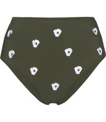 anemone high-waisted floral-embroidered bikini bottoms - green