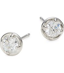 platinum-plated sterling silver & diamond stud earrings