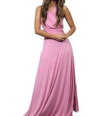 vestido largo alba multi-usos rosado - le frankie