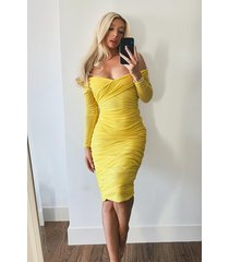 off shoulder ruched mesh bodycon midaxi dress, yellow