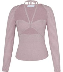 alexia ribbed sweetheart pullover