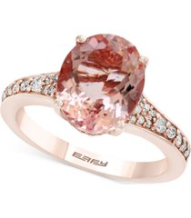 gemstone bridal by effy morganite (3-1/5 ct. t.w.) & diamond (1/4 ct. t.w.) engagement ring in 18k rose gold
