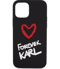 karl lagerfeld paris forever karl liquid logo silicone iphone 12 case - black
