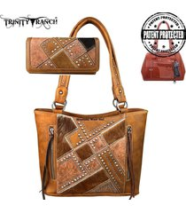 3 colors concealed carry trinity ranch hair on leather montana west bag + wallet