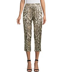 leigh snake-print silk cropped trousers