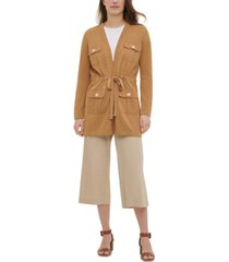 calvin klein mixed-media drawstring-waist cardigan