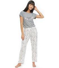 pantalón estampado mujer color blanco, talla m