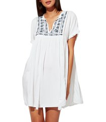 women's bleu by rod beattie india bazzar cover-up caftan, size large - white