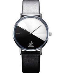 reloj mujer lujo dial acero inoxidable shengke 0095 gris negro