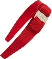 salvatore ferragamo vara bow grosgrain headband, size one size - red