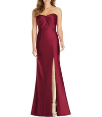 women's alfred sung sateen twill strapless sweetheart neckline gown, size 14 - burgundy