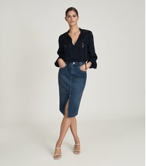 reiss myla - denim midi skirt in mid blue, womens, size 14