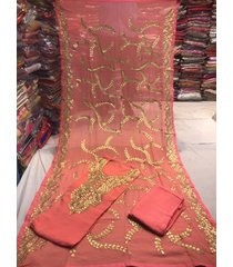 indian salwar kameez peach women party wear suit wedding dress - gota patti