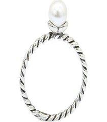 anel torcido e pérola prata 925