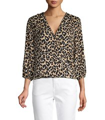 leopard-print twist-front top