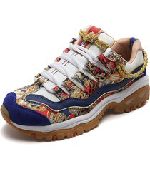 tenis blancos-multicolor skechers captains view