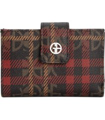 giani bernini plaid block signature framed indexer wallet, created for macy's