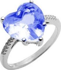 anel la madame co coração cristal azul
