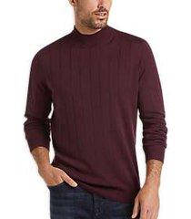 joseph abboud burgundy merino wool modern fit mock neck sweater
