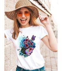 koszulka organiczna z nadrukiem lady and flower