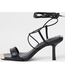 river island womens black square tie up mid heel sandal