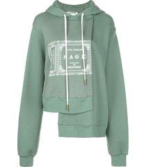 monse sage printed asymmetric hem hoodie - green