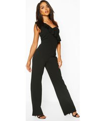 one shoulder ruffle hem jumpsuit, black