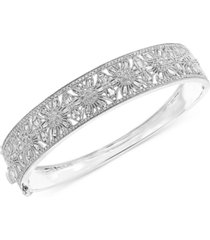 effy diamond floral openwork bangle bracelet (1-3/8 ct. t.w.) in 14k white gold