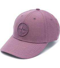 stone island logo patch baseball cap - purple
