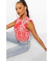 bandanna print shoulder pad t-shirt, white