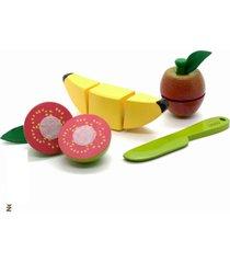 brinquedo kit frutinhas com corte banana, goiaba, maca, faca
