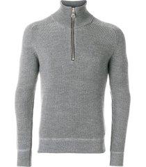 ami funnel neck fisherman's rib sweater - grey