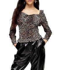 women's topshop leopard ruched prairie blouse