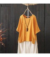 zanzea mujeres asimétrica de split hem tapas de la camisa de cuello redondo casual tamaño normal de la blusa plus -amarillo