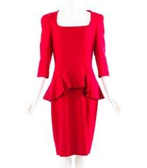 alexander mcqueen red silk wool square neck peplum dress red sz: l